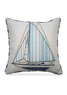 Set Sail Embroidered Decorative Accessory Pillow