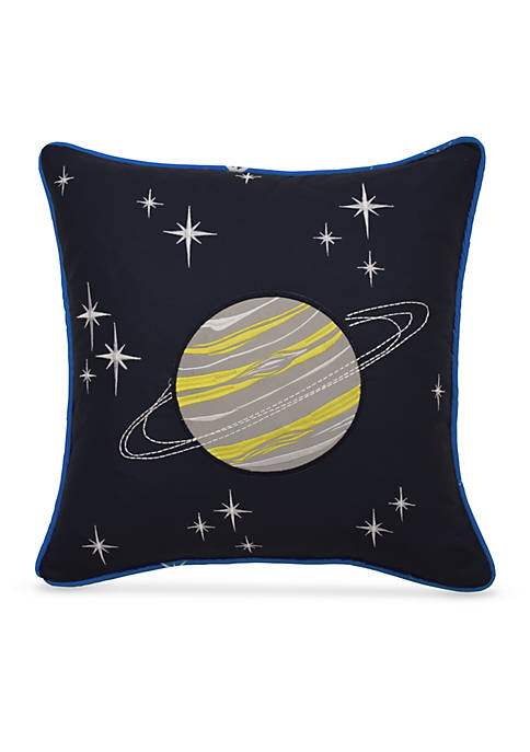 Space Adventure Embroidered Decorative Accessory Pillow