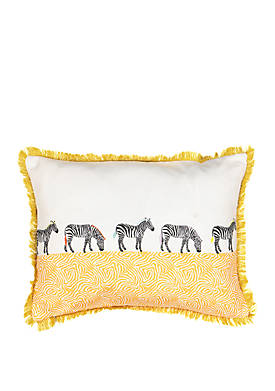 Wild Life Embroidered Zebra Decorative Pillow