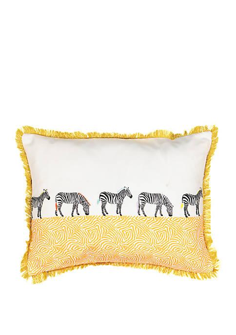 Wild Life Embroidered Zebra Decorative Pillow