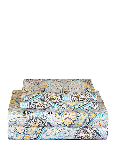 Pointehaven Celeste Home Percale Cotton Sheet Set