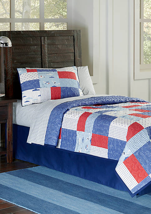 Lullaby Bedding Airplane Quilt Set