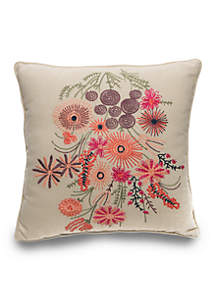 Cornelia Floral Embroidered Decorative Pillow 16-in. x 16-in.