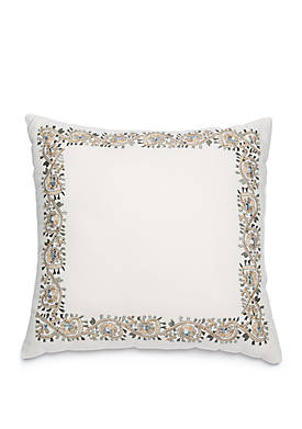 Grand Paisley Embroidered Throw Pillow
