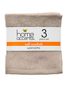 Home Accents® Set of 3 Soft Essentials Washcloths