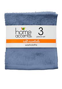 Home Accents® Set of 3 Soft Essentials Washcloths