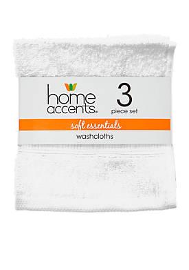 Set of 3 Soft Essentials Washcloths