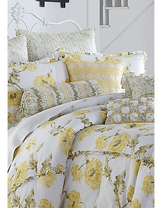 Mary Janes Farm Watercolor Fl, Yellow King Bedding