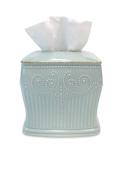 French Perle Groove Tissue Box Cover 6-in.x 5-in.x