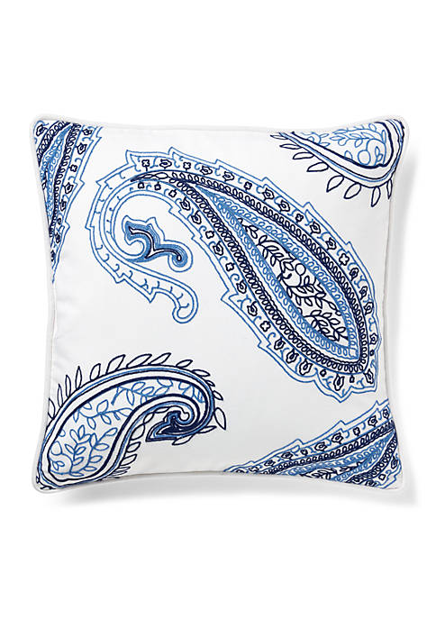 Nora Embroidered Paisley Throw Pillow