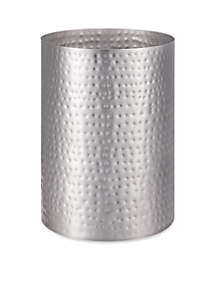 J Queen New York Pressed Metal Silver Wastebasket  7.0-in. x 10-in.