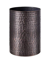 J Queen New York Pressed Metal Oil Rubbed Bronze Wastebasket