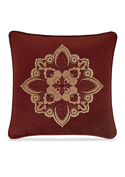 Rosewood Embroidered Square Decorative Pillow