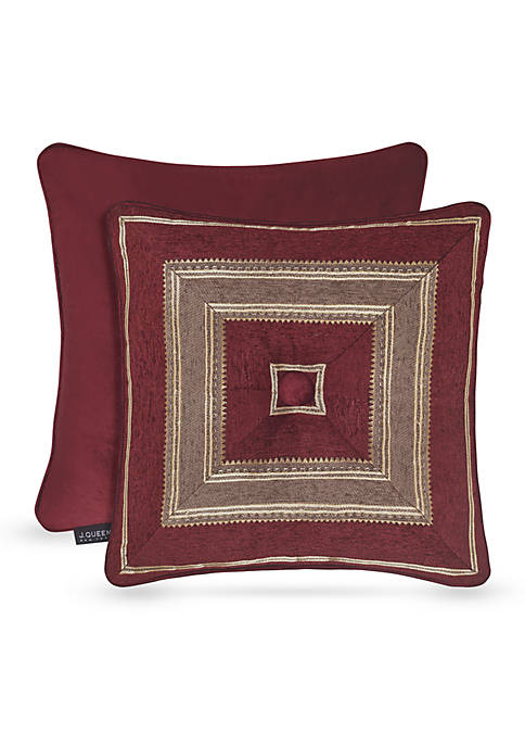 J Queen New York Crimson Square Decorative Pillow