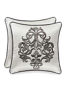 Chancellor Embroidered Square Decorative Pillow