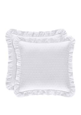 Lena White 18 in Square Pillow