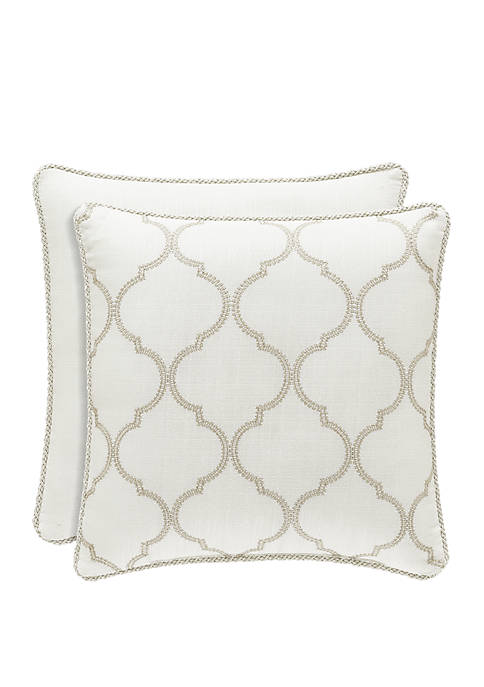 Royal Court Eleanor Cream Square Pillow