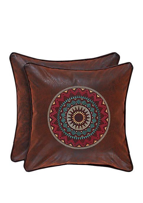 Katonah Brown 18 in Square Embellished Pillow