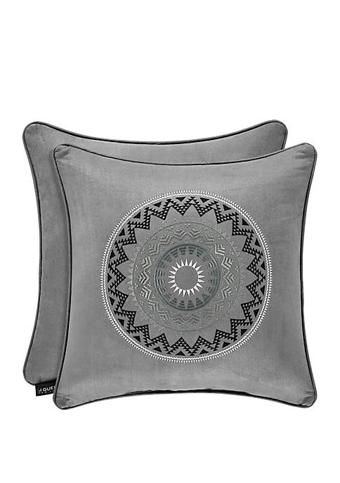 Brandon Silver 18 inch Square Embellished Pillow