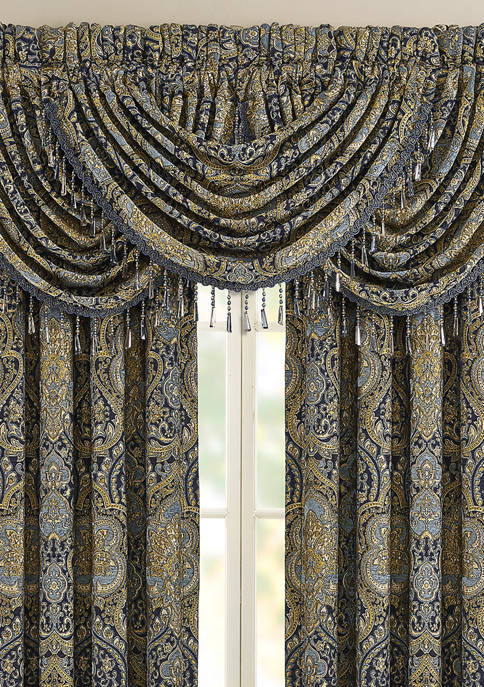 Five Queens Court Palmer Teal Window Waterfall Valance