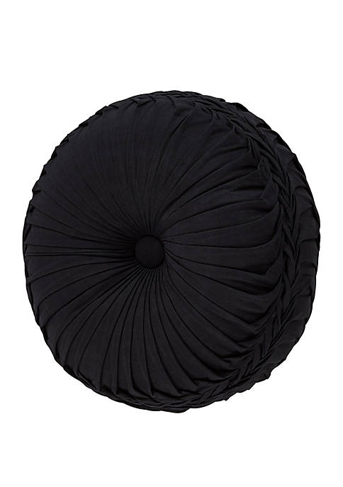 Midnight Mist Black Tufted Round Pillow