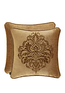 J Queen New York Sicily Gold 20 in Square Embellished Pillow