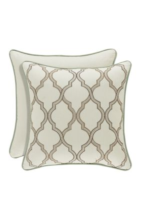 J Queen New York Vienna Ivory Square Embellished Pillow