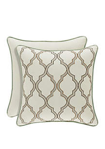 Vienna Ivory Square Embellished Pillow
