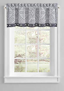 J Queen New York Coleen Silver Straight Valance with Embellishment