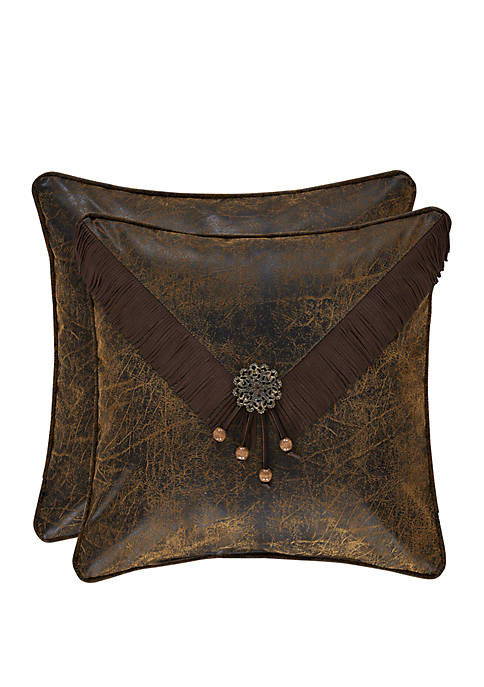 Taos Brown 18 in Square Embellished Pillow