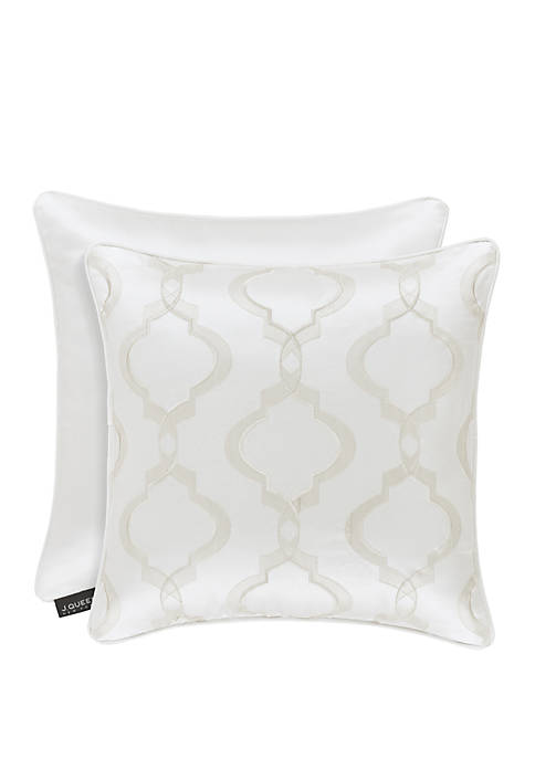 Cordelia White 18 in Square Decorative Throw Pillow