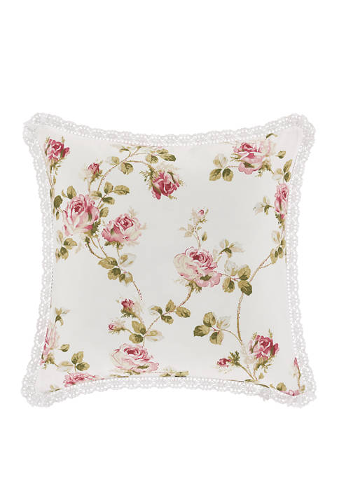 Royal Court Rosemary Rose Square Decorative Throw Pillow