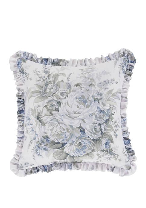 Royal Court Estelle Blue Square Decorative Throw Pillow