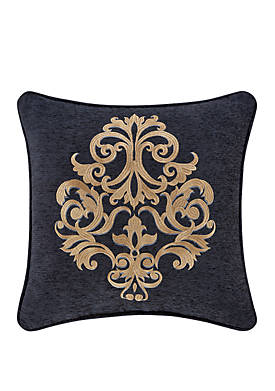 Luciana Indigo 18 Inch Square Embellished Decorative Throw Pillow
