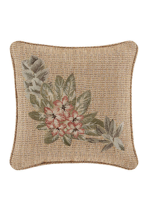 Martinique Gold 18 Inch Square Embellished Decorative Throw Pillow
