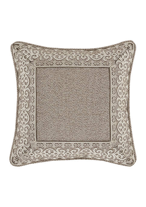 Milan Taupe 18 Inch Square Embellished Decorative Throw Pillow