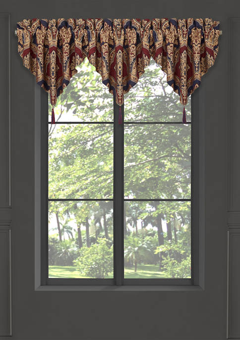 Five Queens Court Middleton Red Window Ascot Valance
