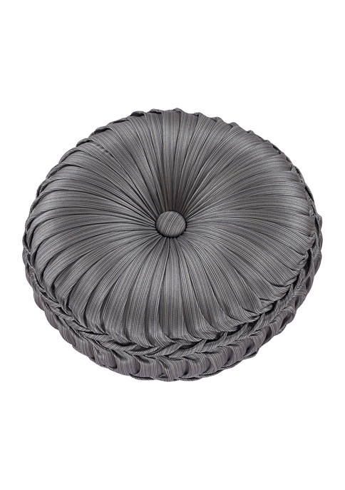 Five Queens Court Houston Charcoal Tufted Round Decorative