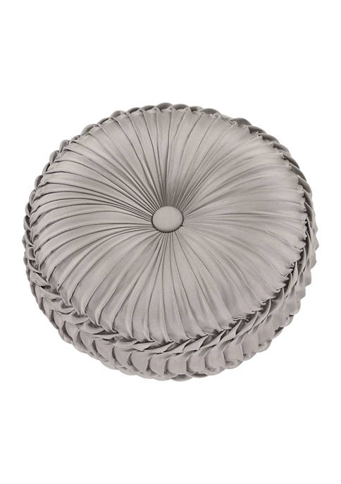 Richmond Silver Tufted Round Decorative Throw Pillow