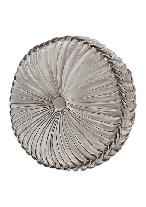 Napoli Silver Tufted Round Decorative Throw Pillow
