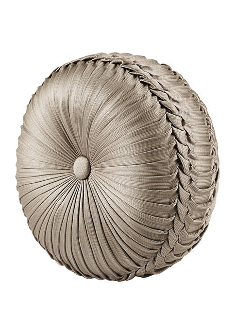 Bellalina Champagne Tufted Round Decorative Throw Pillow