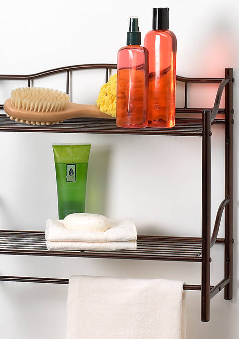 2 Shelf Wall Organizer with Towel Bar