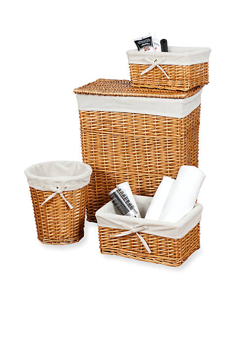Creative Bath Honey 4-Piece Wickerworks Hamper and Storage