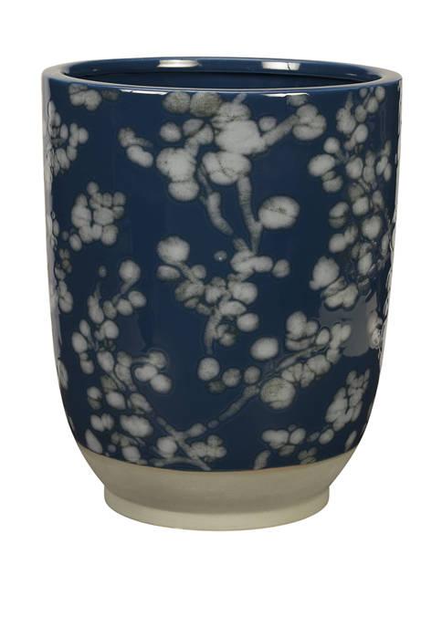 Indigo Blossom Wastebasket
