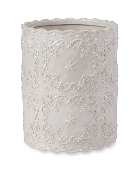 Creative Bath Ruffles White Wastebasket 8.25-in. x 8.25-in.