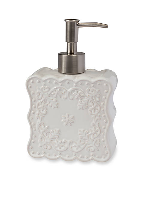 Ruffles White Lotion Dispenser 7.5-in. x 5-in. x 3-in.