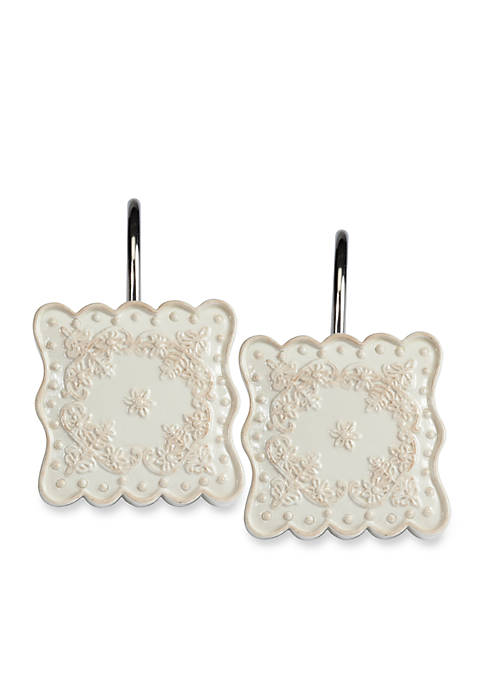 Creative Bath Ruffles White Shower Curtain Hooks