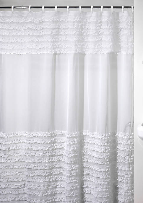 Creative Bath Ruffles White Shower Curtain 72-in. x