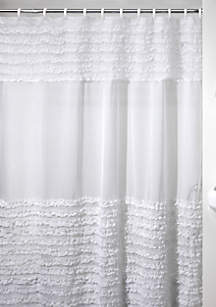 Ruffles White Shower Curtain 72-in. x 72-in.