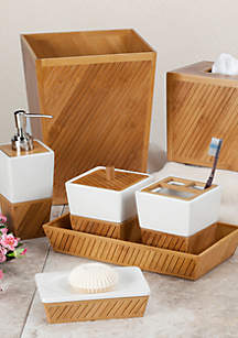 Spa Bamboo Bath Accessories 7-Piece Set